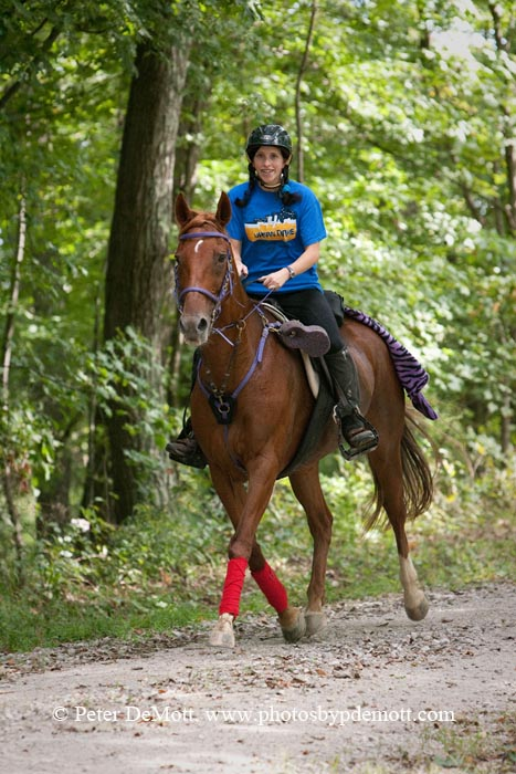 Rider at Cracked Oats Crunch endurance ride at Scioto State Park in Ohio