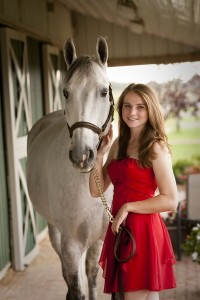 Megan Red Dress with Horse