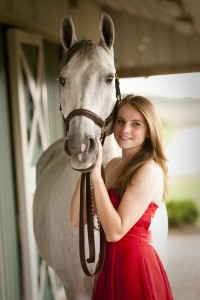 Senior Red Dress and Horse