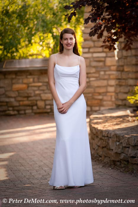 Noel's senior portrait session with beautiful white dress