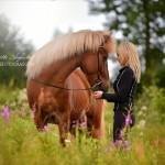 Beautiful posing of women with their horses